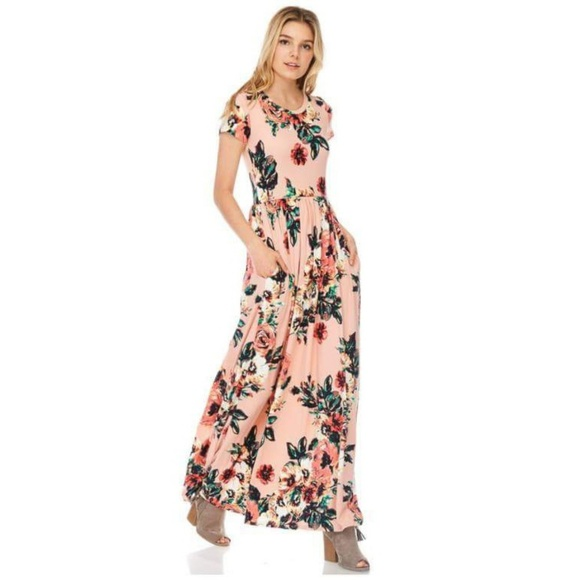 734f0813dd6 Floral Maxi Dress with Pockets Pink Spring Summer. Boutique